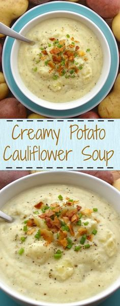 This Creamy, Vegan Potato Cauliflower Soup is great for those cold nights ... Go for the loaded soup- add fresh ground pepper, green onions & coconut bacon