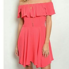 Coral off the shoulder dress Great for summer and spring! Dresses Mini