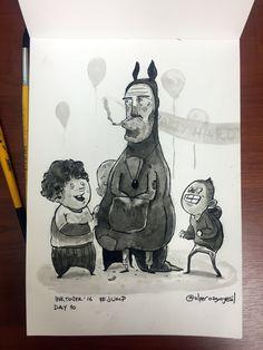 No kids, Mr.Kangaroo doesn't want to jump, he just wanna his paycheck. #inktober / #inktober2016 - Day 10 - Theme: #jump ..............#shade #sketch #eskiz #illustration #illüstrasyon #ink #mürekkep #fırça #brush #october #drawing #çizim #instagood #instaart #art #doodle #kangaroo #kanguru #birthday #party #partyhard #kids #children #paycheck #mascot #parti