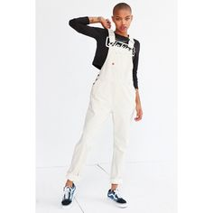 Dickies Denim Bib Overall Sleeveless white denim overalls from iconic American workwear brand, Dickies. In a slouchy boyfriend fit with an apron chest, open si…