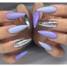 Purple chrome nails, blue and silver nails, glittery nails, blue glitter,. Glittery Nails, Fancy Nails, Love Nails, Trendy Nails, My Nails, Style Nails, Purple Chrome Nails, Purple And Silver Nails, Silver Glitter