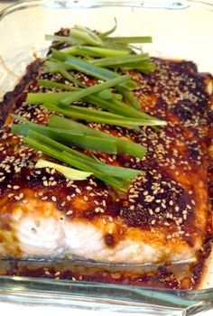 Teriyaki glazed salmon... We use soy vay and marinate 8hrs and grill it! It is by far my favorite!!