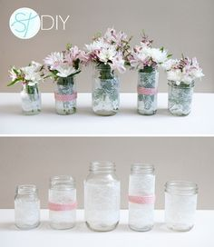 lace on mason jars #DIY