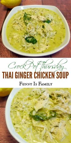 This Crock Pot Thai Ginger Chicken Soup has wonderful flavor! Crock Pot Thai Ginger Chicken Soup - This Thai Ginger Chicken Soup recipe is just a little bit spicy, and has great flavor! This slow cooker chicken soup made a great dinner! Ginger Chicken Soup, Chicken Soup Recipes, Chicken Curry, Chicken Rice Soup, Chicken Soups, Thai Chicken, Recipe Chicken, Rotisserie Chicken, Slow Cooker Recipes