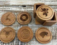 Game of Thrones Coasters, Custom Wood Coaster Set, Round Wood Coaster Set, Engraved Coasters, Initial Coaster Set- Set of 6  --6098