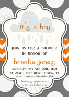 Baby Shower Invitation  Rainy Showers BOY by sweetpeababy on Etsy, $16.00