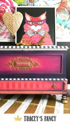 Modern Office Furniture Gorgeous Painted Hope Chest by Tracey's Fancy Whimsical Painted Furniture, Hand Painted Furniture, Funky Furniture, Recycled Furniture, Paint Furniture, Home Office Furniture, Shabby Chic Furniture, Furniture Makeover, Industrial Furniture