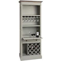 Vintage Shabby Chic Pigeon Grey Tall Wooden Drinks Wine Storage Display Cabinet | eBay