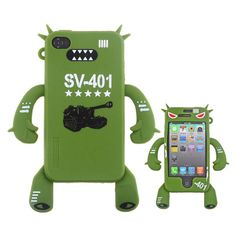 Robot Image Protective Soft Shell Back Case Cover for iPhone 4/4S Military