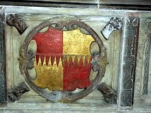 """Arms of Thomas Bromley, from his tomb at Wroxeter. The Visitation of Cheshire describes the Bromley arms as: """"Quarterly per fess indented Gules and Or."""""""