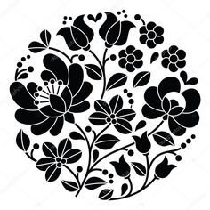 Download - Kalocsai black embroidery - Hungarian round floral folk pattern — Stock Illustration #72389287