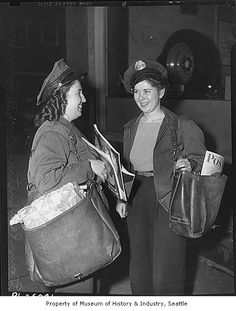 Donna Pennington and Ardyth Hamilton, Seattle's first women mail carriers, Seattle, 1942