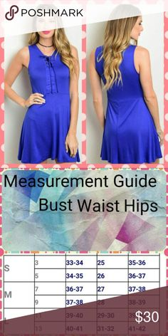 Royal Blue Lace Front A Line Dress Royal Blue Lace Front A Line Dress  Super trendy dress for the spring and summer. This would look great with a wide brim hat and your favorite wedges. Material moves with you and is breathable. Dresses Mini