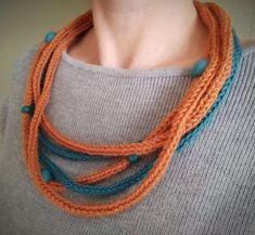 Turkis og oransje heklet halskjede Crochet Necklace, Jewelry, Fashion, Jewlery, Moda, Crochet Collar, Jewels, La Mode, Jewerly