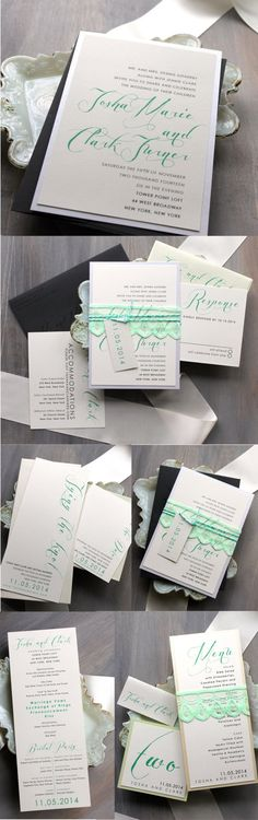 Mint Script - Mint & Lace 1920's Inspired Wedding Invitations, Save the Dates, Ceremony Programs, Table Numbers, Place Cards, Mint Menu Cards