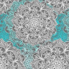 Turquoise, White and Grey Hand Drawn Mandalas small  fabric by micklyn on Spoonflower - custom fabric