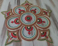 Floor Art Kundan Rangoli Home Decor Indian Decor House Rangoli Ideas, Rangoli Designs, Traditional Rangoli Design, Acrylic Rangoli, Rangoli Colours, Diwali Craft, Street Painting, Sand Sculptures, Floor Art