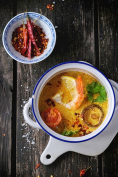 ◖ [Get Free]◫ Thai Soup Tom Yam Above Asian Bowl Chili Coconut Coriander Spicy Thai Soup, Asian Bowls, Shrimp Soup, Menu, Indonesian Food, Dinner Dishes, Yams, Coriander, Fish Recipes