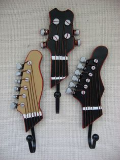 Set of 3 Musical Rock and Roll Wall Hooks by TheTurquoiseCottage, Nursery Themes, Nursery Decor, Bedroom Decor, Music Nursery, Nursery Boy, Rock And Roll, Rockabilly Decor, Rock Decor, Music Decor