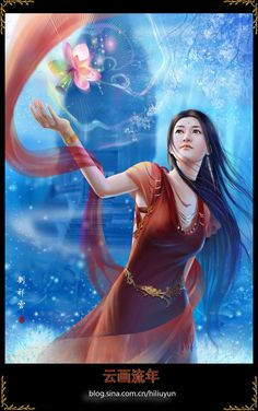 Lotus lamp by hiliuyun Anime Art Fantasy, Fantasy Art Women, Fantasy Romance, Fantasy Artwork, Fantasy Illustration, Graphic Illustration, Lotus Lamp, Midsummer Dream, Art Easel