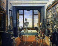 Paul Delvaux - Skeletons in the office - 1944. http://jpdubs.hautetfort.com/archive/2007/05/15/surrealisme.html