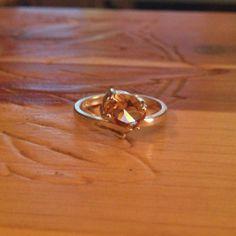 Vintage Twist Peach Citrine Ring Sterling Silver by AncientShip, $15.00