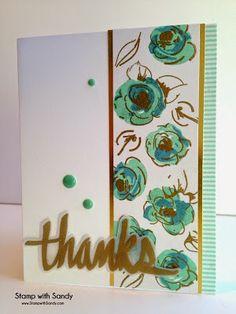 Stamp Sets: Painted Flowers, Super Script 2 (Altenew)Card Stock: Solar White (Neenah), Gold Foil, White Vellum (SU)Ink Pads: Versamark, Pool Party, Marina Mist (SU)Tools: Heat ToolAccessories: Gold Embossing Powder, Washi Tape (SU), Enamel Dots
