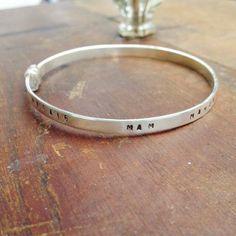Adjustable silver personalised bangle