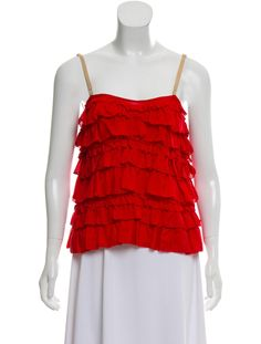 Red Lanvin silk sleeveless top with ruffled tiered accents throughout, adjustable straps and concealed zip closure at side. Ruffle Trim, Lanvin, Silk, Tank Tops, Clothing, Dresses, Women, Fashion, Outfits