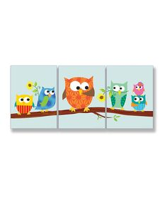 Loving this Sky Blue Owl Wall Plaque Set on #zulily! #zulilyfinds