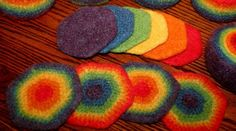 rainbow crochet potholder