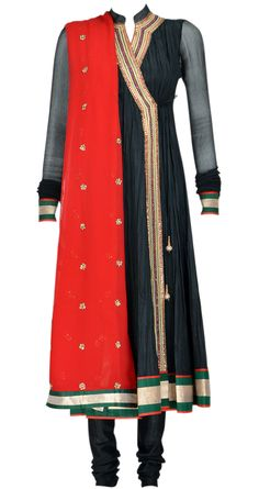 New items! Ilana black crinkled silk angarakha style kurta with red detailing. It comes with a red chiffon dupatta and matching silk churidaar by Pankaj and Nidhi. Shop at https://www.perniaspopupshop.com/whats-new/pankaj-and-nidhi-3122