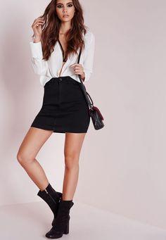 Missguided - Denim Super Stretch Mini Skirt Black