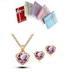 18K Real GP Austrian Crystal Love Heart  Necklace & Stud Earring Set Gift Box