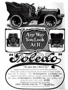 Check out the prices on this 1904 Pope Toledo Automobile Advertisement
