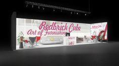 309 Möbel Redbrick Cube | Attraktiver Messestand für einen Möbelhersteller.   Die rahmenlose, hinterleuchtete Rückwand mit großem Logodruck in rot macht den Reihenstand mit...