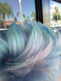 """Trending Now! Opal Haircolor! Look at the iridescent baby blue, lavender, mint green and slight fiery-orange in this haircolor! """"Like"""" and """"Share"""" if you did a double-take. We know we did: http://bit.ly/1M4BipO"""