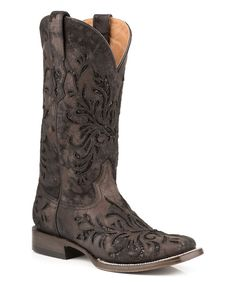 Look at this Stetson Black Metallic Laser-Cut Leather Cowboy Boot - Women on #zulily today!