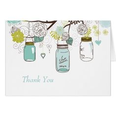 Love Bird's Wedding Thank You Cards Blue Mason Jars and Love Birds Postage Card