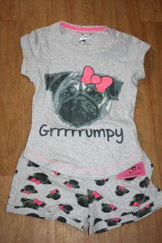 Primark Girls PUG DOG NIGHTWEAR T Shirt Top & Shorts Pyjamas Set