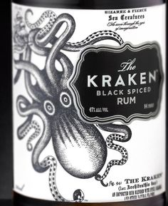 Package Design for The Kraken Rum. Designed by Stranger & Stranger a package design and branding company that specializes in alcoholic drinks