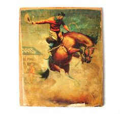 Vintage Decoupage Cowboy Bucking Bronco Wall by PoorLittleRobin, $15.00