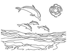 Beach Vacation, : A Group of Dolphin Near the Beach Coast Coloring Page Dolphin Coloring Pages, Family Coloring Pages, Online Coloring Pages, Coloring Pages For Kids, Coloring Sheets, Dolphin Family, Beach Activities, Dolphins, Kids Playing