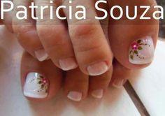 Pedicure Designs, Toe Nail Designs, Nail Polish Designs, Summer Toe Nails, Spring Nails, Feet Nails, My Nails, Manicure And Pedicure, Pedicures
