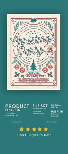 Christmas Party Flyer Template PSD #xmas