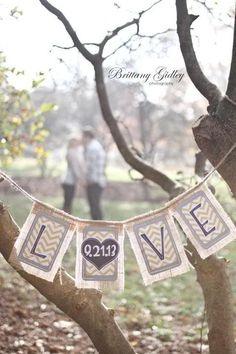 SO CUTE! Unique Rustic LOVE Date Wedding Banner or Engagement Photo Prop:Modern Rustic Burlap Chevron Flags