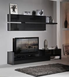 Perfect Floating Rack And Shelf Units Mounted On Wall With Black Color Themes For Minimalist Living Room Idea - Use J/K to navigate to previous and next images