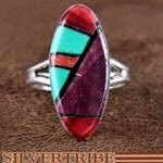 Navajo Indian Multicolor Inlay Sterling Silver Ring Size 5-1/4 RS49879