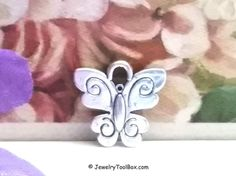 Tiny Butterfly Charm, Antique Silver Butterfly, Insect Charms, Lead Free, Nickel Free, 13x13.5x2mm, 2.5mm Loop, Lot Size 12 to 100, #2002 BY
