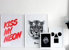 Du noir et blanc et du néon, c'est ce qu'on vous conseille, même en tableau!